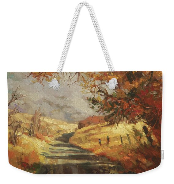 Autumn Road Weekender Tote Bag