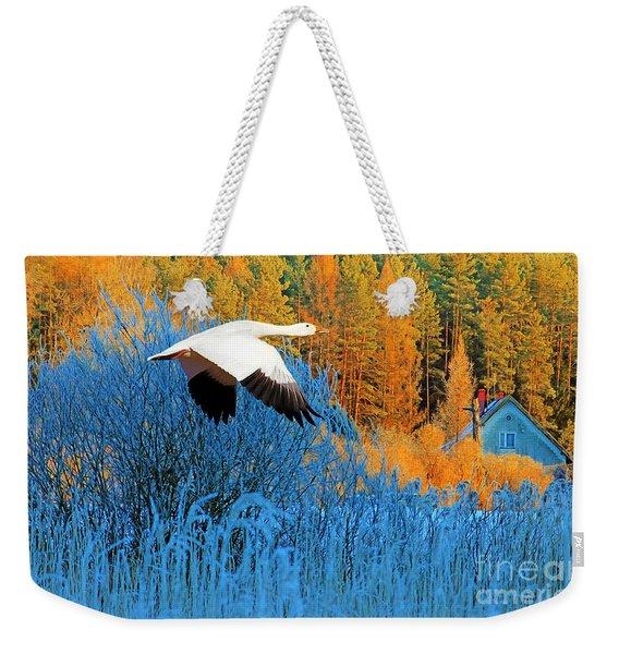 Autumn Snow Goose Weekender Tote Bag