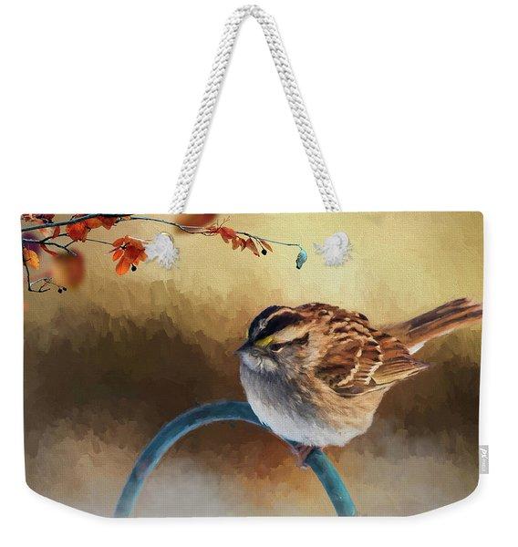 Autumn Sparrow Weekender Tote Bag