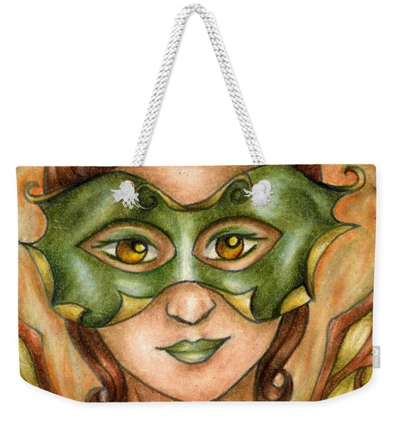 Weekender Tote Bag featuring the drawing Autumn Tree Sprite Art by Kristin Aquariann