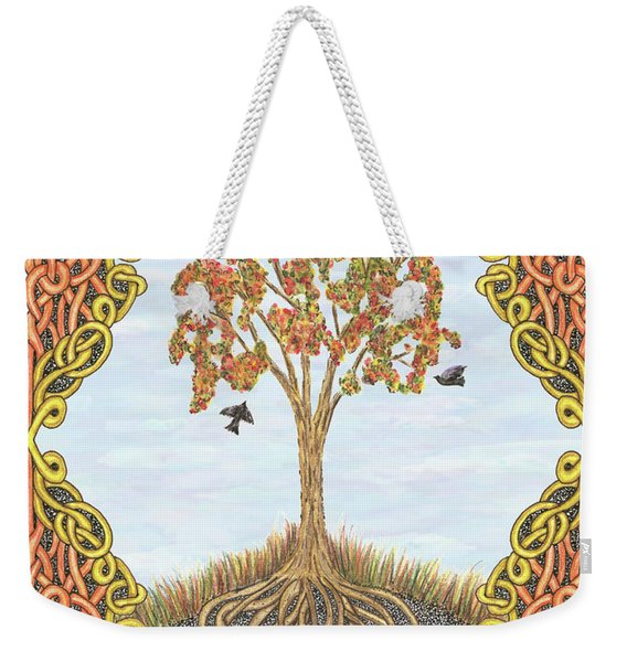 Autumn Tree With Knotted Roots And Knotted Border Weekender Tote Bag