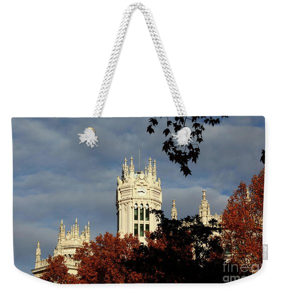 Autumn Trees And Palace Of Communication Madrid Weekender Tote Bag
