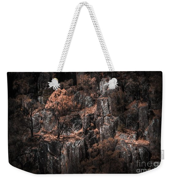 Autumn Trees Growing On Mountain Rocks Weekender Tote Bag
