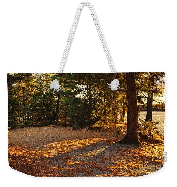 Autumn Trees Near Lake Weekender Tote Bag