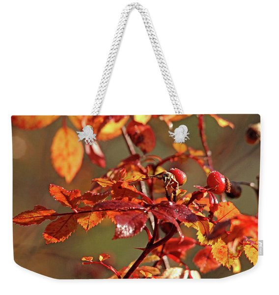 Autumn Wild Rose Hips Weekender Tote Bag