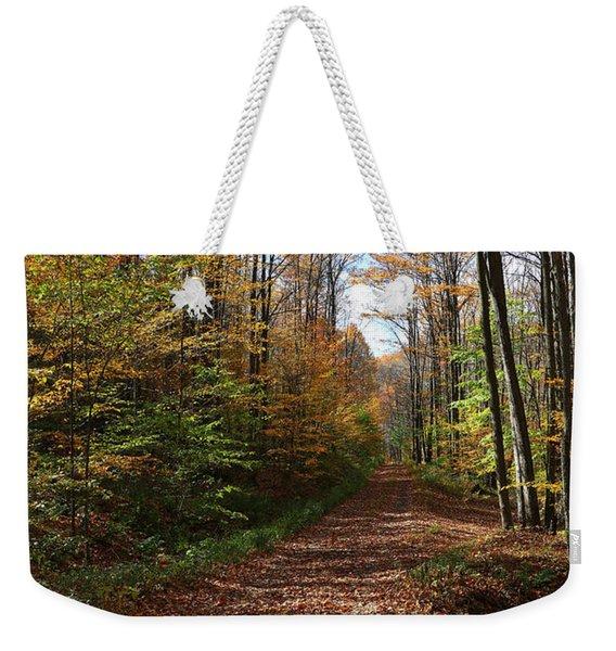 Autumn Woods Road Weekender Tote Bag