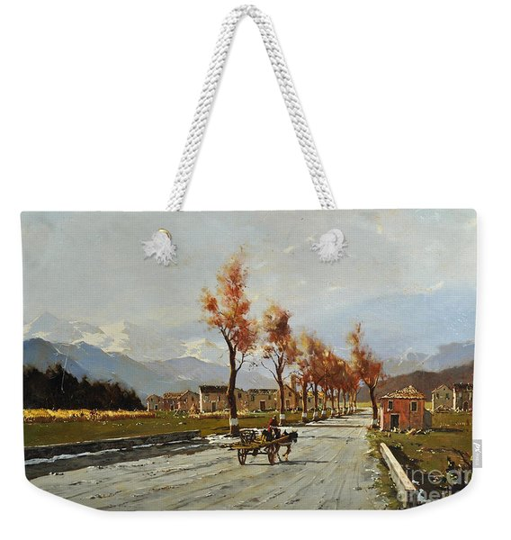 Weekender Tote Bag featuring the painting Avellino's Landscape  by Rosario Piazza