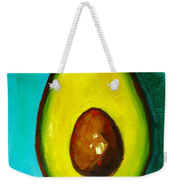 Avocado Modern Art, Kitchen Decor, Aqua Background Weekender Tote Bag