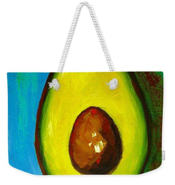 Avocado, Modern Art, Kitchen Decor, Blue Green Background Weekender Tote Bag