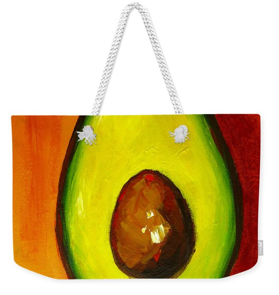 Avocado Modern Art, Kitchen Decor, Orange And Red Background Weekender Tote Bag