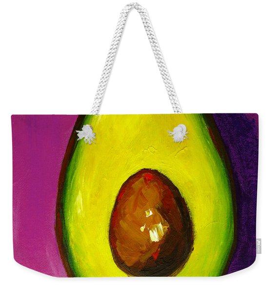 Avocado Modern Art, Kitchen Decor, Purple Background Weekender Tote Bag
