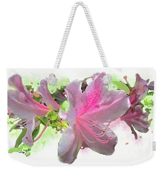Weekender Tote Bag featuring the digital art Azalea #2 by Gina Harrison