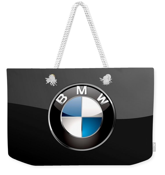 B M W  3 D Badge On Black Weekender Tote Bag