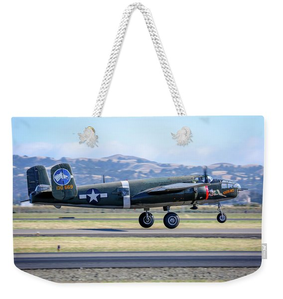 B25 Mitchell Bomber Take Off At Livermore Weekender Tote Bag