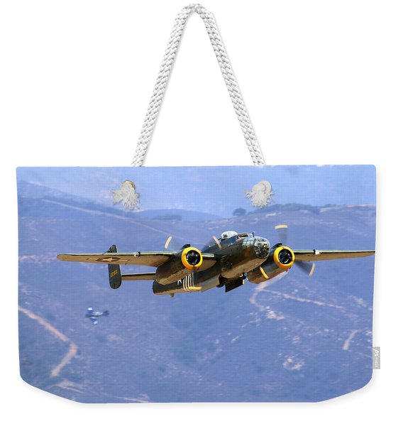 B25 Mitchell Flyby At Salinas Weekender Tote Bag