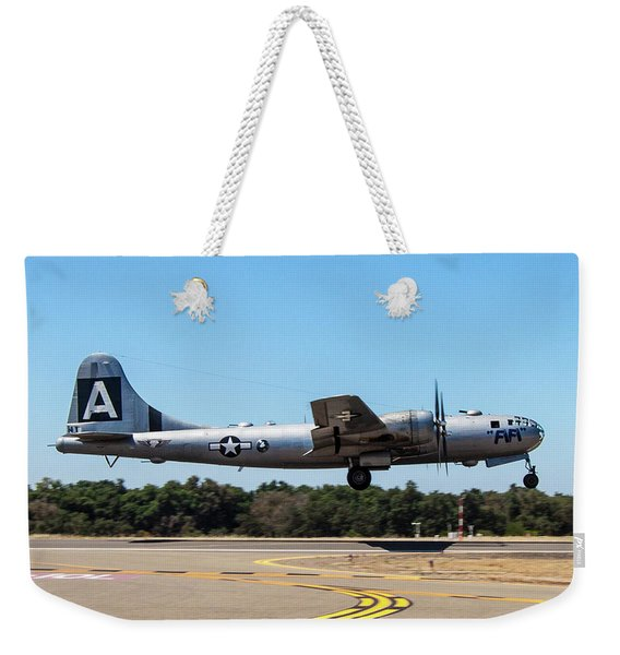 B29 Superfortress Takeoff At Modesto Weekender Tote Bag