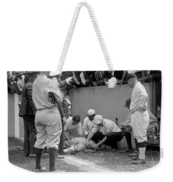 Babe Ruth Knocked Out By A Wild Pitch Weekender Tote Bag