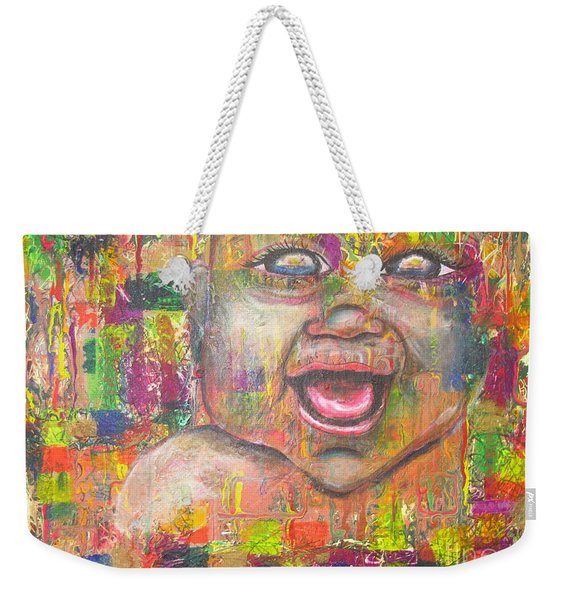 Weekender Tote Bag featuring the painting Baby - 1 by Jacqueline Athmann