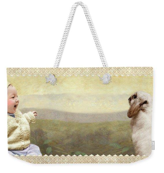 Baby And Bunny Talk Weekender Tote Bag