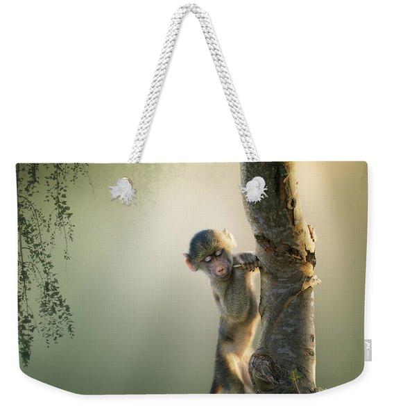 Baby Baboon In Tree Weekender Tote Bag
