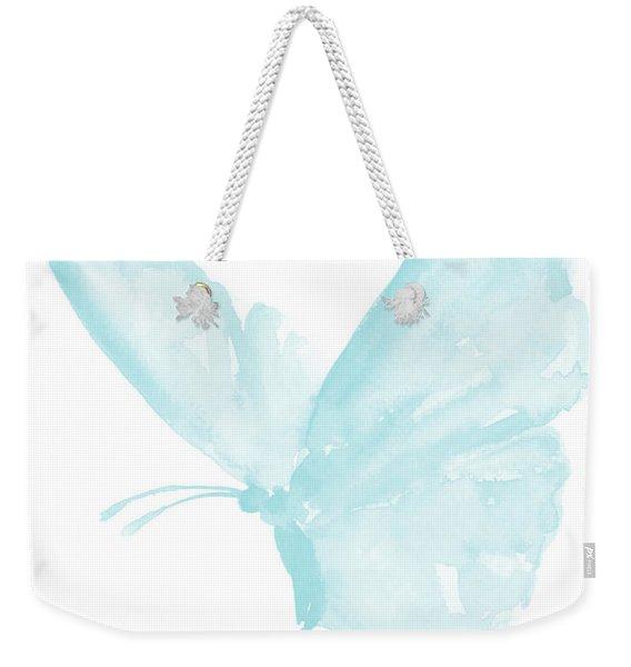 Butterfly, Baby Blue Butterfly Watercolor Painting, Pastel Kids Room Decor, Nursery Boy Print Weekender Tote Bag