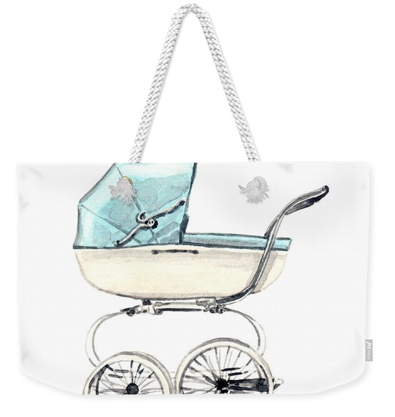 Baby Carriage In Blue - Vintage Pram English Weekender Tote Bag