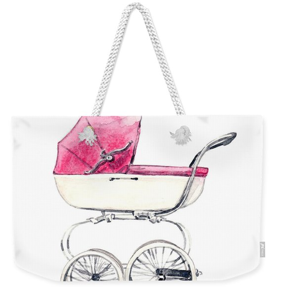 Baby Carriage In Pink - Vintage Pram English Weekender Tote Bag