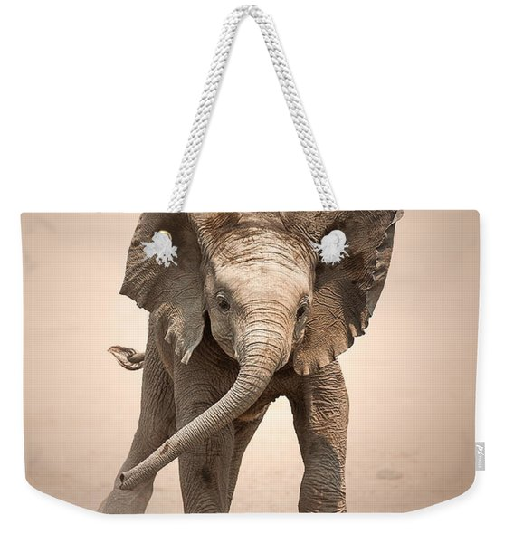 Baby Elephant Mock Charging Weekender Tote Bag