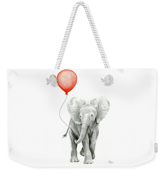Baby Elephant Watercolor Red Balloon Weekender Tote Bag