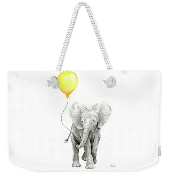 Baby Elephant Watercolor With Yellow Balloon Weekender Tote Bag