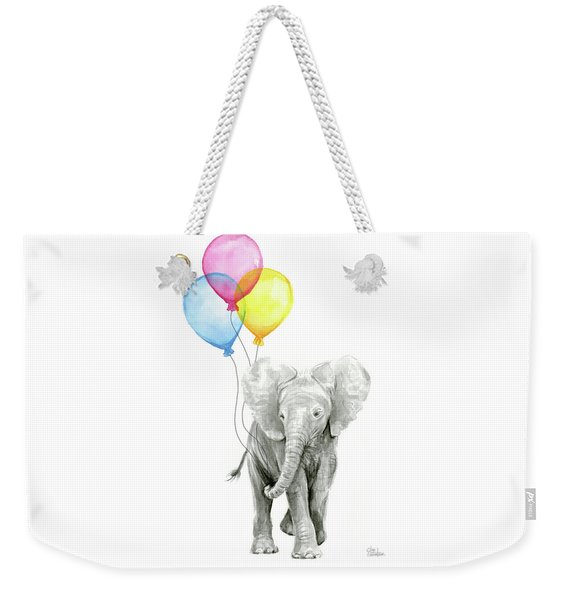 Baby Elephant With Baloons Weekender Tote Bag