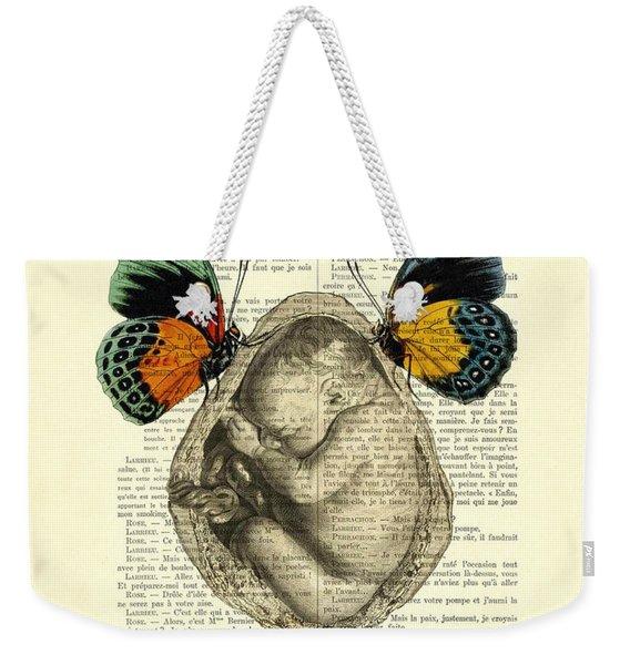 Baby Foetus And Butterflies Weekender Tote Bag