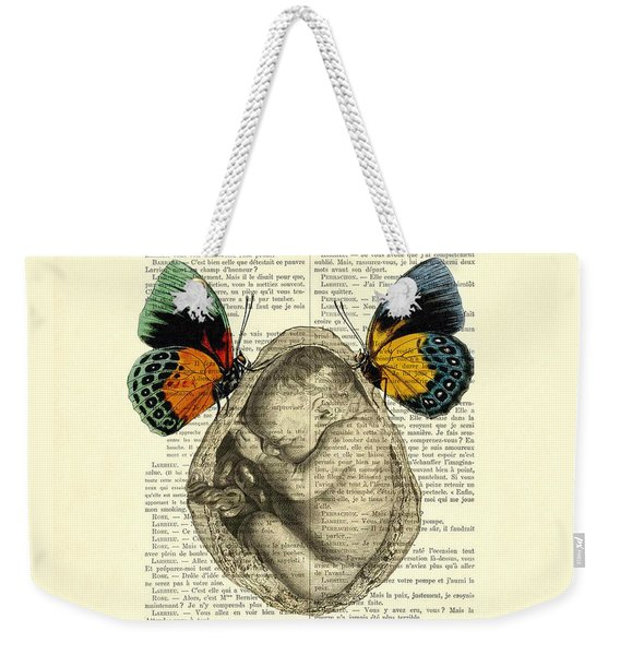 Baby Foetus And Butterflies Weekender Tote Bag