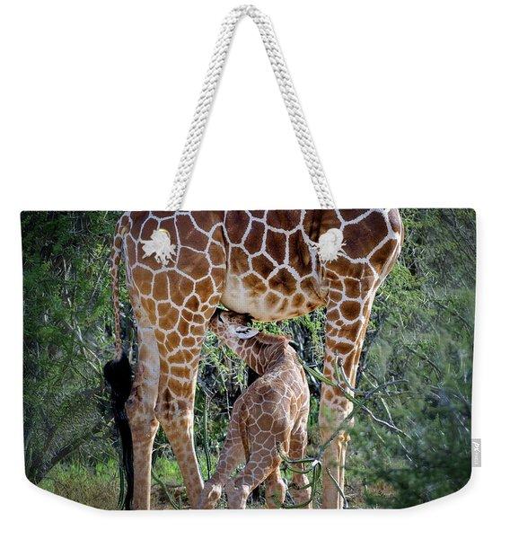 Baby Giraffe Feeding Weekender Tote Bag