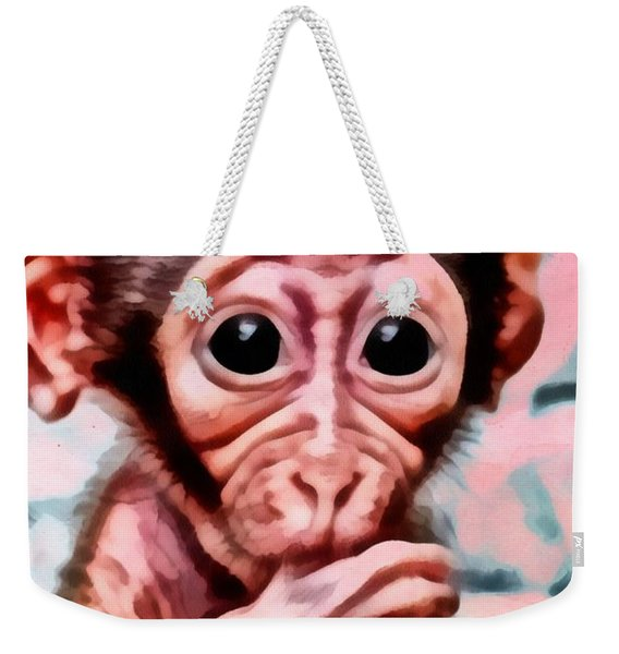 Baby Monkey Realistic Weekender Tote Bag