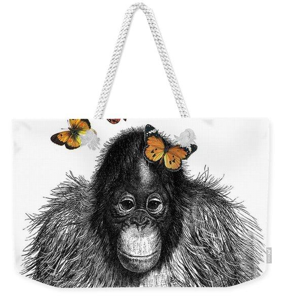 Baby Monkey With Orange Butterflies Weekender Tote Bag