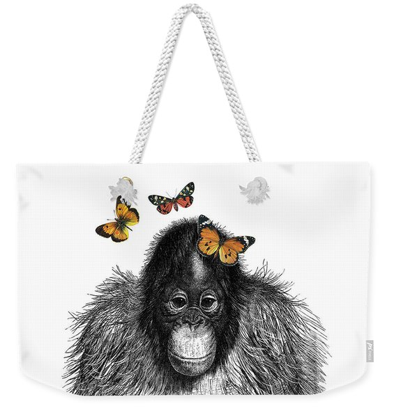 Baby Monkey With Orange Butterflies Weekender Tote Bag