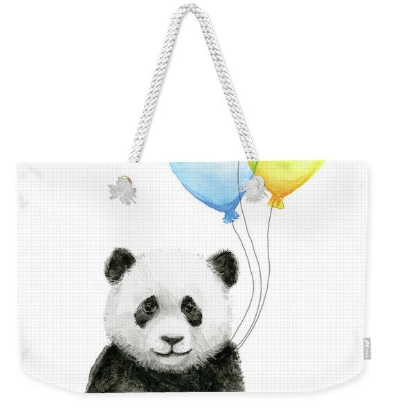 Baby Panda Watercolor With Balloons Weekender Tote Bag