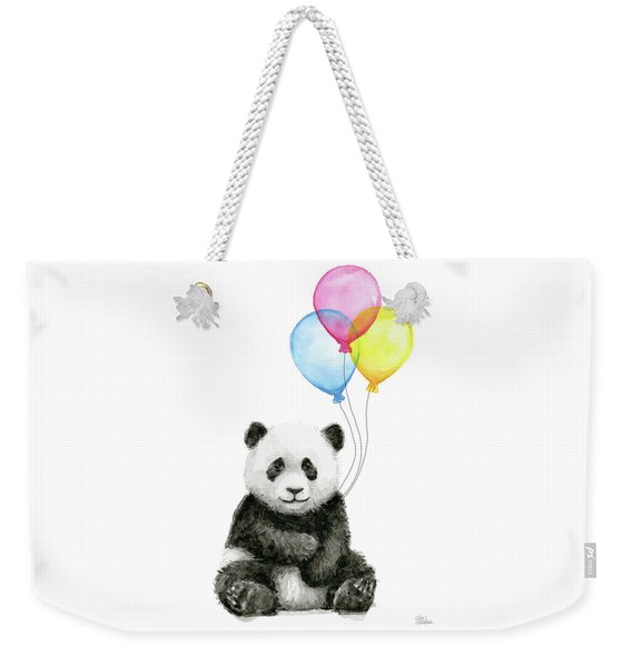 Baby Panda Watercolor With Balloons Weekender Tote Bag