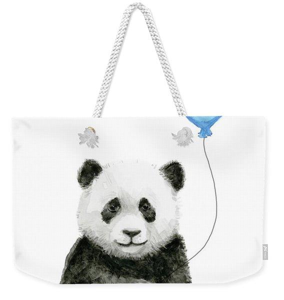Baby Panda With Blue Balloon Watercolor Weekender Tote Bag