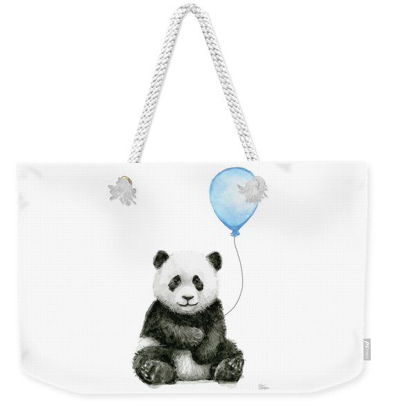 Baby Panda With Blue Balloon Watercolor Weekender Tote Bag