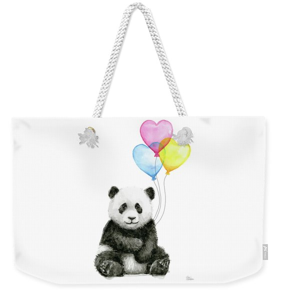 Baby Panda With Heart-shaped Balloons Weekender Tote Bag