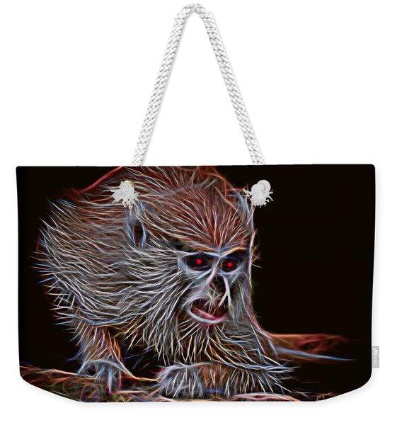 Baby Patas Monkey On Guard Glow Version Weekender Tote Bag