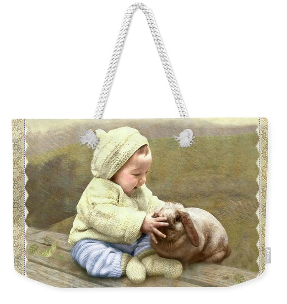 Baby Touches Bunny's Nose Weekender Tote Bag