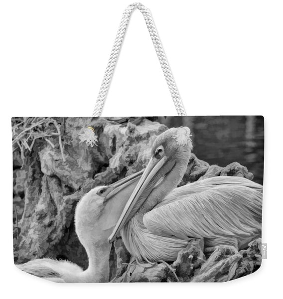 Baby White Pelican Talks To Mother White Pelican Weekender Tote Bag