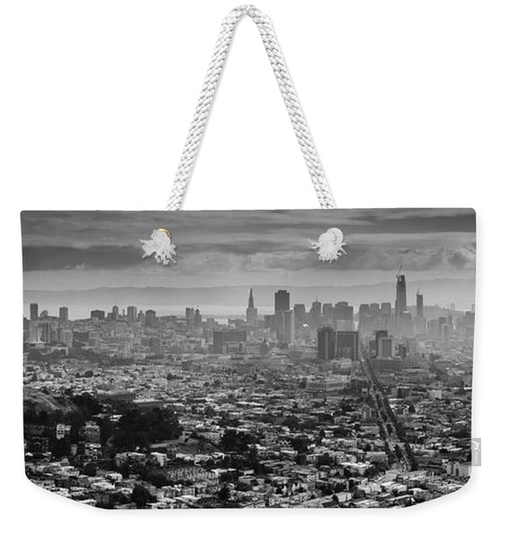 Back And White View Of Downtown San Francisco In A Foggy Day Weekender Tote Bag