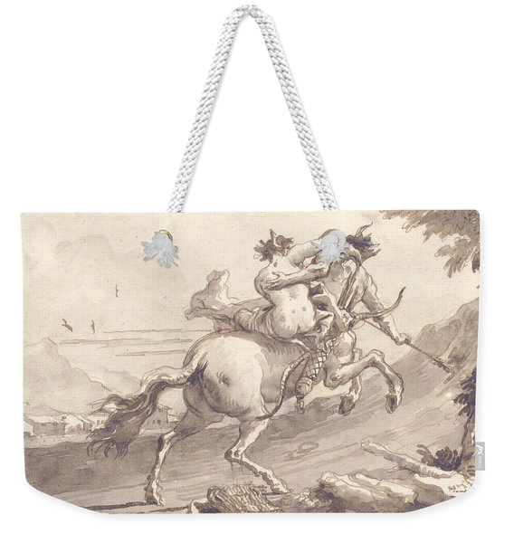 Back View Of A Centaur Abducting A Satyress Weekender Tote Bag