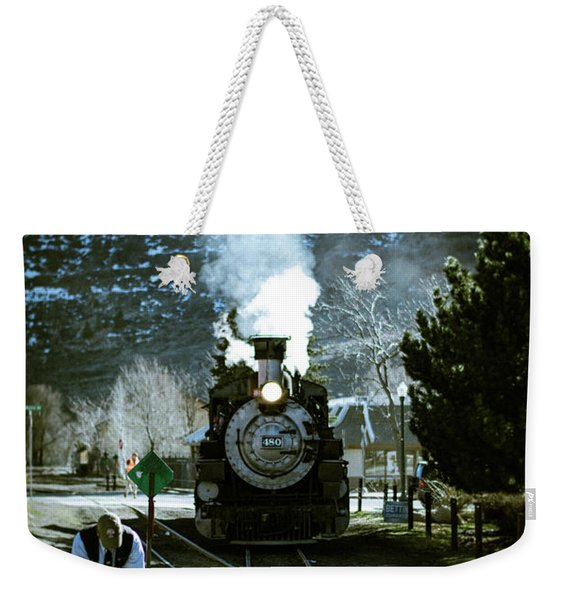 Weekender Tote Bag featuring the photograph Backing Into The Station by Jason Coward