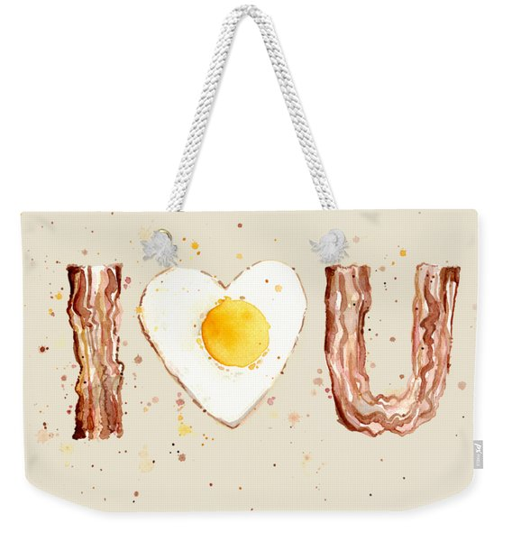 Bacon And Egg I Heart You Watercolor Weekender Tote Bag