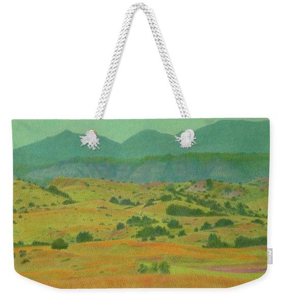 Weekender Tote Bag featuring the pastel Badlands Grandeur by Cris Fulton